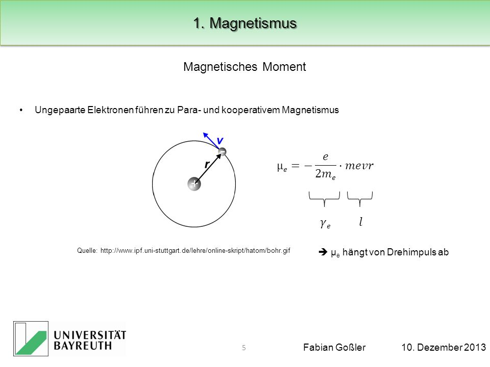 1. Magnetismus Magnetisches Moment µ𝑒=− 𝑒 2𝑚𝑒 ·𝑚𝑒𝑣𝑟 𝛾𝑒 𝑙