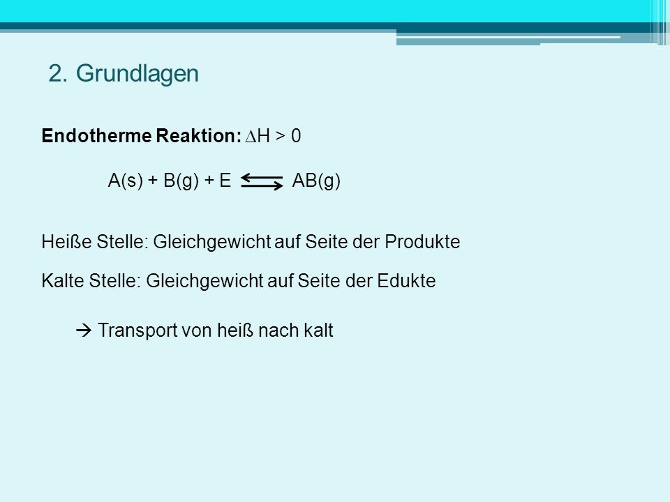 2. Grundlagen Endotherme Reaktion: H > 0 A(s) + B(g) + E AB(g)