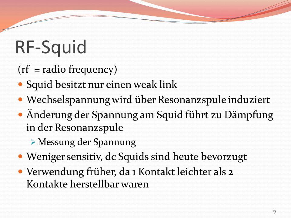 RF-Squid (rf = radio frequency) Squid besitzt nur einen weak link