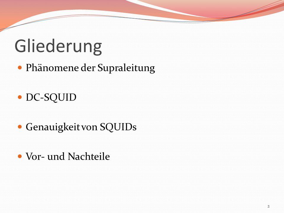 Gliederung Phänomene der Supraleitung DC-SQUID Genauigkeit von SQUIDs