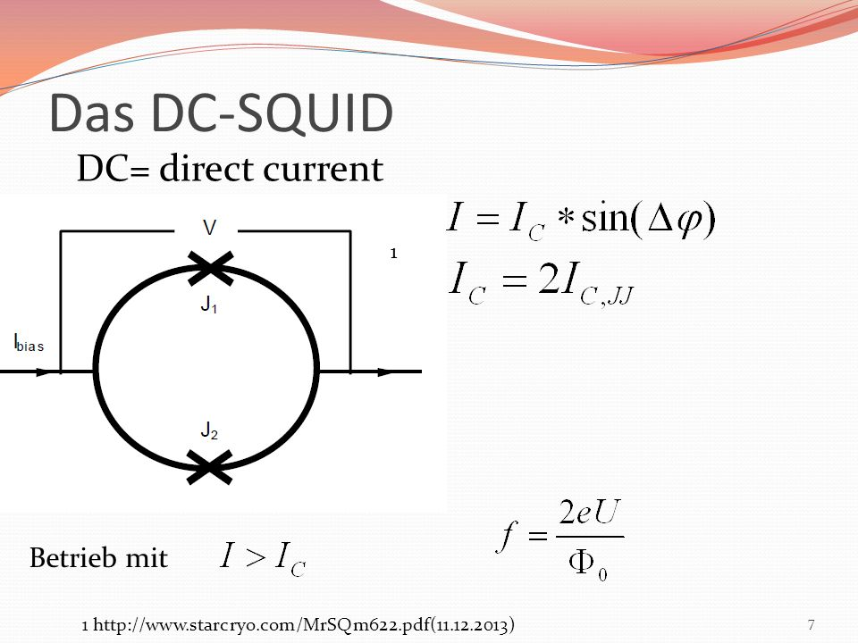 Das DC-SQUID DC= direct current Betrieb mit 1