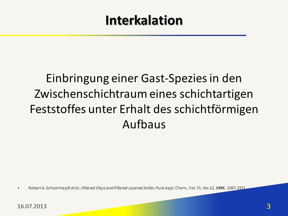 Interkalation Einbringung einer Gast-Spezies in den Zwischenschichtraum eines schichtartigen Feststoffes unter Erhalt des schichtförmigen Aufbaus.