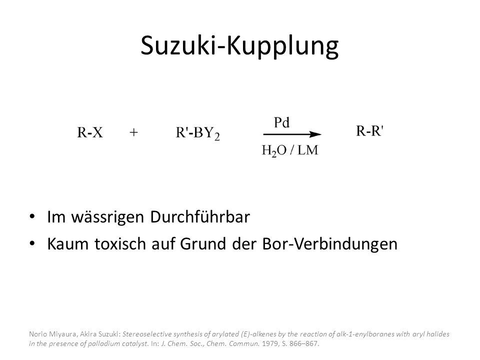 Suzuki-Kupplung Im wässrigen Durchführbar