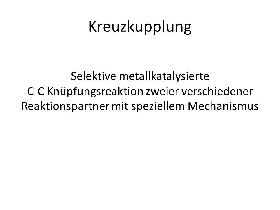 Kreuzkupplung Selektive metallkatalysierte C-C Knüpfungsreaktion zweier verschiedener Reaktionspartner mit speziellem Mechanismus.