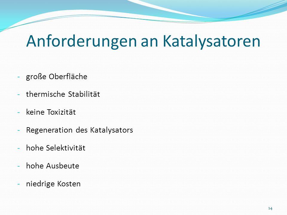 Anforderungen an Katalysatoren