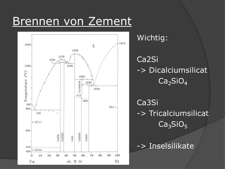 Brennen von Zement Wichtig: Ca2Si -> Dicalciumsilicat Ca2SiO4 Ca3Si -> Tricalciumsilicat Ca3SiO5 -> Inselsilikate