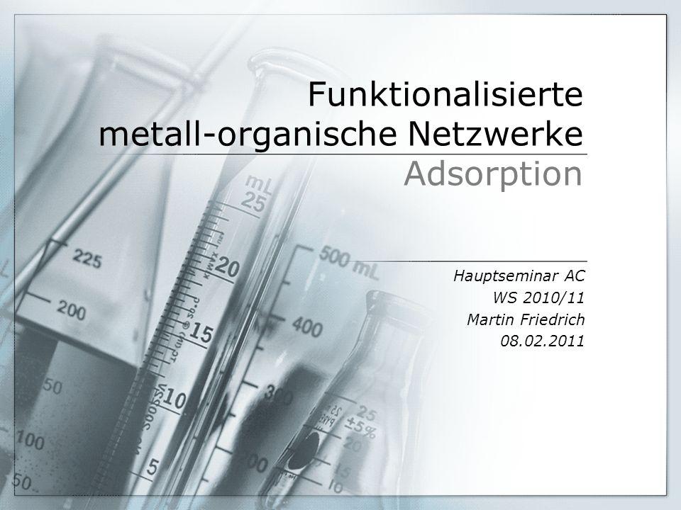 Funktionalisierte metall-organische Netzwerke Adsorption