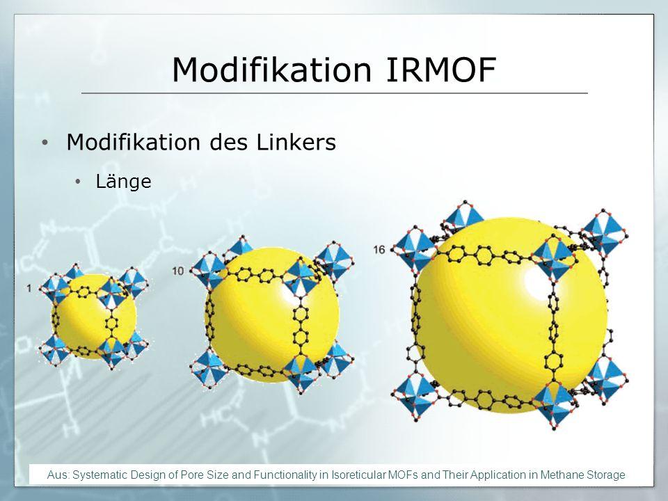 Modifikation IRMOF Modifikation des Linkers. Länge. - Einfache Modifikation der Porengröße und somit auch des Porenvolumens.
