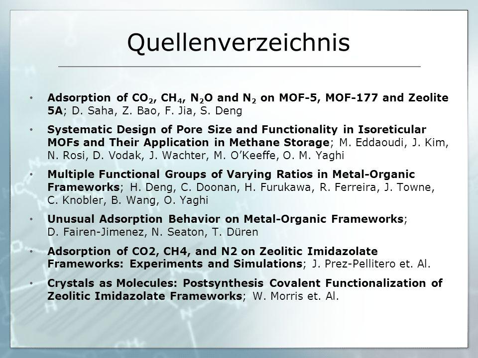 QuellenverzeichnisAdsorption of CO2, CH4, N2O and N2 on MOF-5, MOF-177 and Zeolite 5A; D. Saha, Z. Bao, F. Jia, S. Deng.