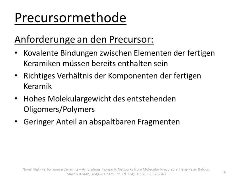 Precursormethode Anforderunge an den Precursor: