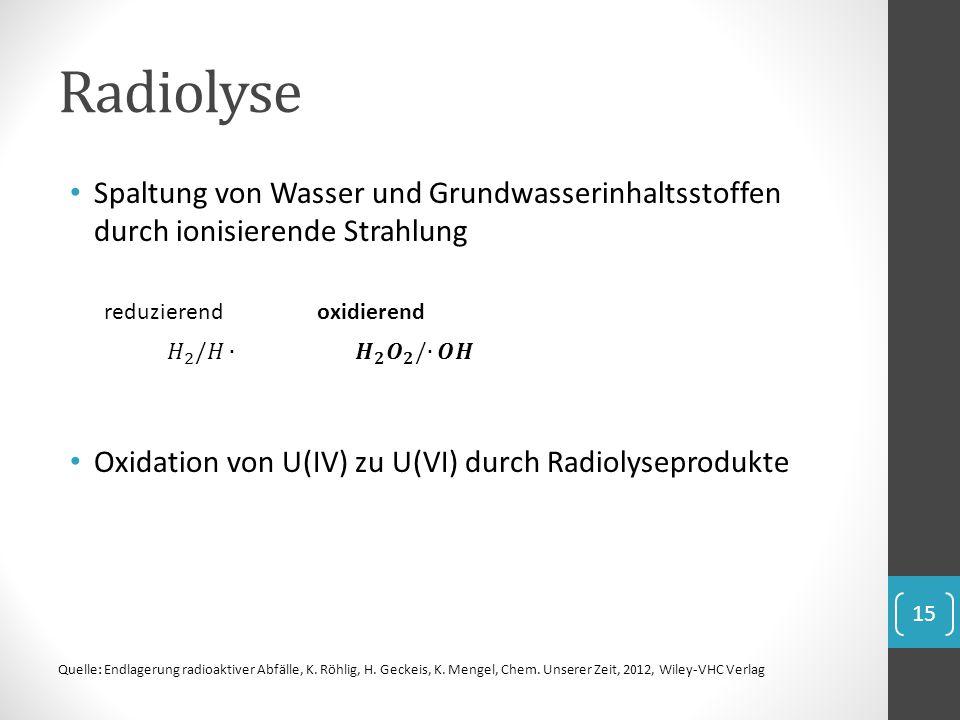 Radiolyse Spaltung von Wasser und Grundwasserinhaltsstoffen durch ionisierende Strahlung. Oxidation von U(IV) zu U(VI) durch Radiolyseprodukte.