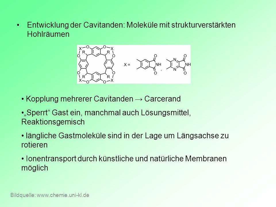 Kopplung mehrerer Cavitanden → Carcerand
