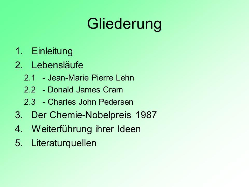 Gliederung Einleitung Lebensläufe 3. Der Chemie-Nobelpreis 1987
