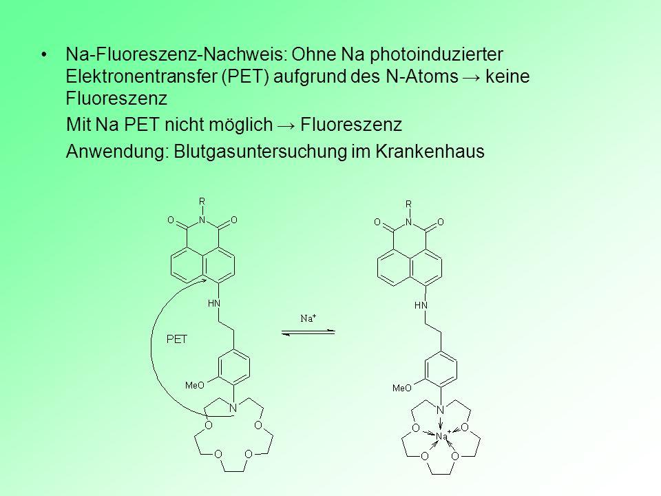 Na-Fluoreszenz-Nachweis: Ohne Na photoinduzierter Elektronentransfer (PET) aufgrund des N-Atoms → keine Fluoreszenz