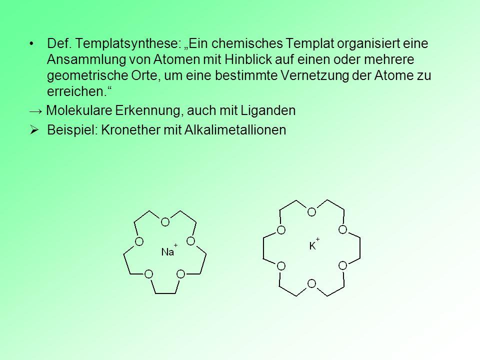 """Def. Templatsynthese: """"Ein chemisches Templat organisiert eine Ansammlung von Atomen mit Hinblick auf einen oder mehrere geometrische Orte, um eine bestimmte Vernetzung der Atome zu erreichen."""