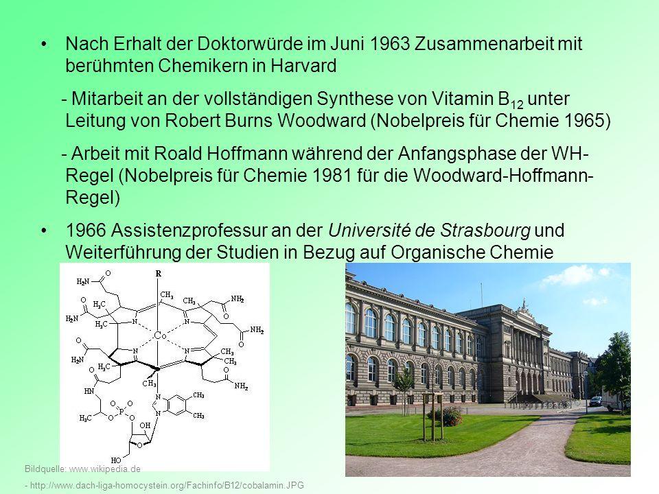 Nach Erhalt der Doktorwürde im Juni 1963 Zusammenarbeit mit berühmten Chemikern in Harvard