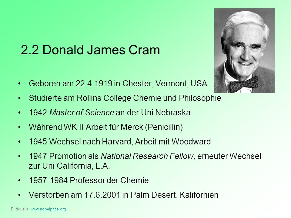 2.2 Donald James Cram Geboren am 22.4.1919 in Chester, Vermont, USA