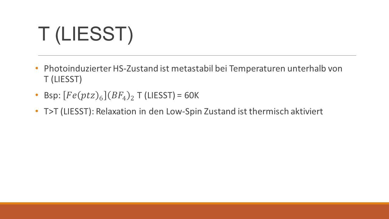 T (LIESST) Photoinduzierter HS-Zustand ist metastabil bei Temperaturen unterhalb von T (LIESST)