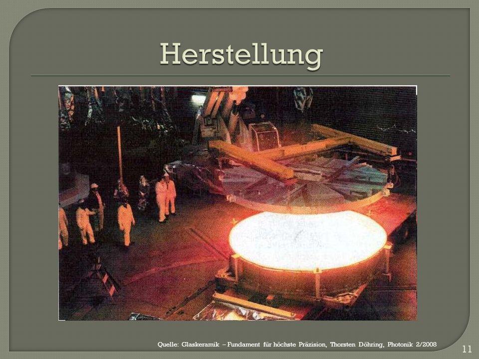 Herstellung Quelle: Glaskeramik – Fundament für höchste Präzision, Thorsten Döhring, Photonik 2/2008.