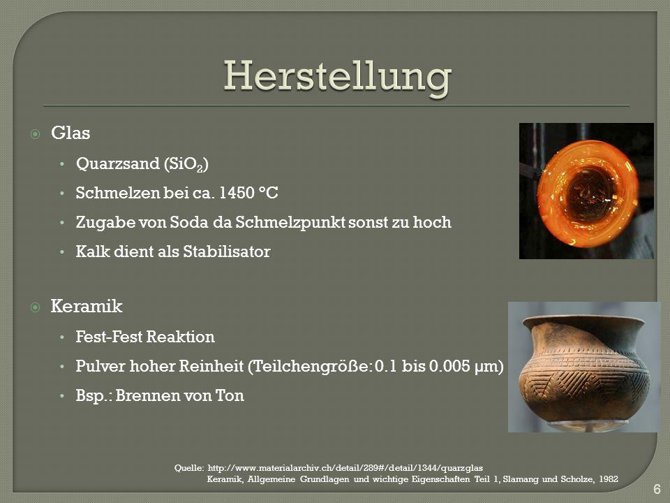 Herstellung Glas Keramik Quarzsand (SiO2) Schmelzen bei ca. 1450 °C