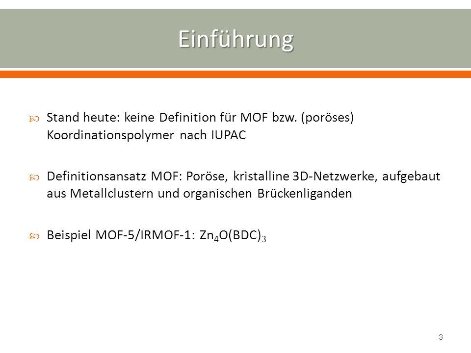 Einführung Stand heute: keine Definition für MOF bzw. (poröses) Koordinationspolymer nach IUPAC.