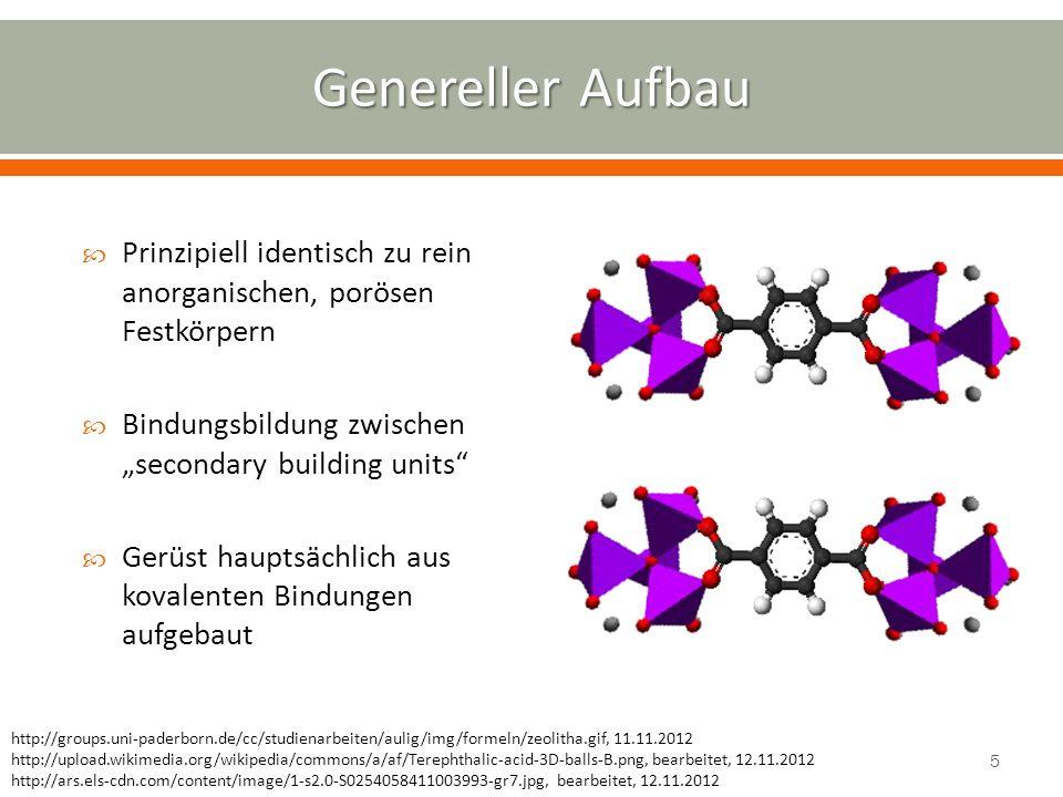"""Genereller Aufbau Prinzipiell identisch zu rein anorganischen, porösen Festkörpern. Bindungsbildung zwischen """"secondary building units"""