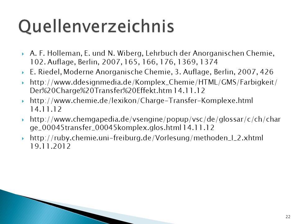 Quellenverzeichnis A. F. Holleman, E. und N. Wiberg, Lehrbuch der Anorganischen Chemie, 102. Auflage, Berlin, 2007, 165, 166, 176, 1369, 1374.