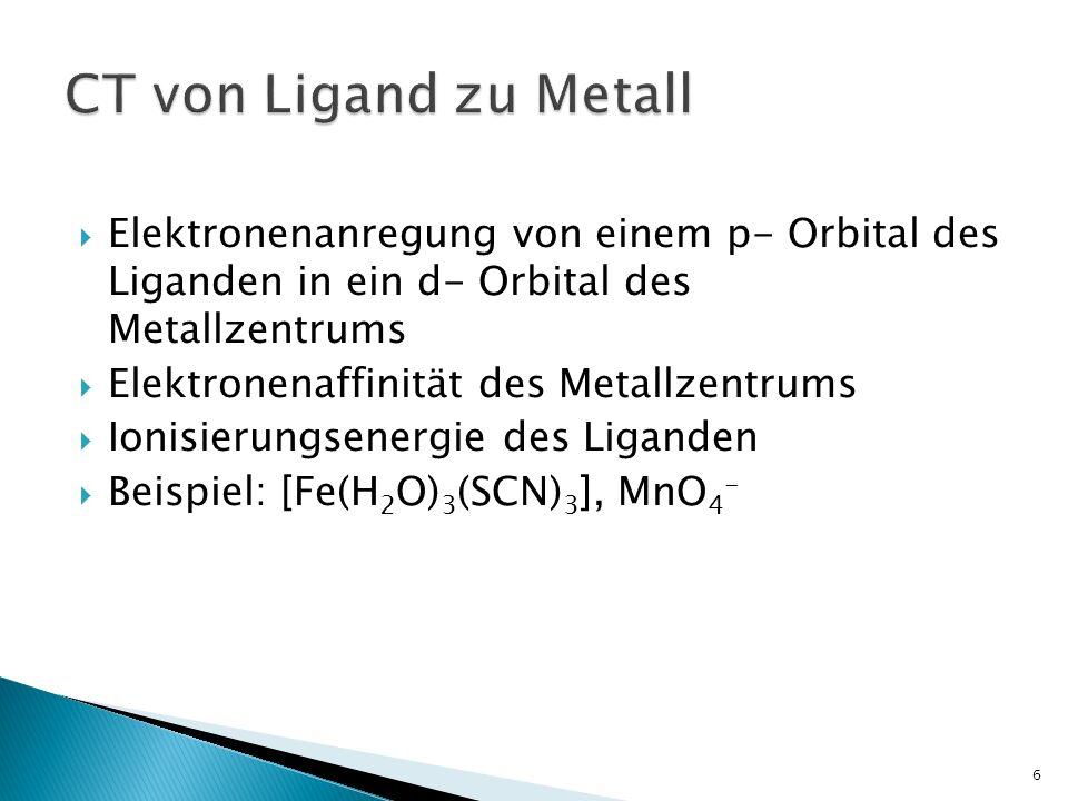 CT von Ligand zu Metall Elektronenanregung von einem p- Orbital des Liganden in ein d- Orbital des Metallzentrums.