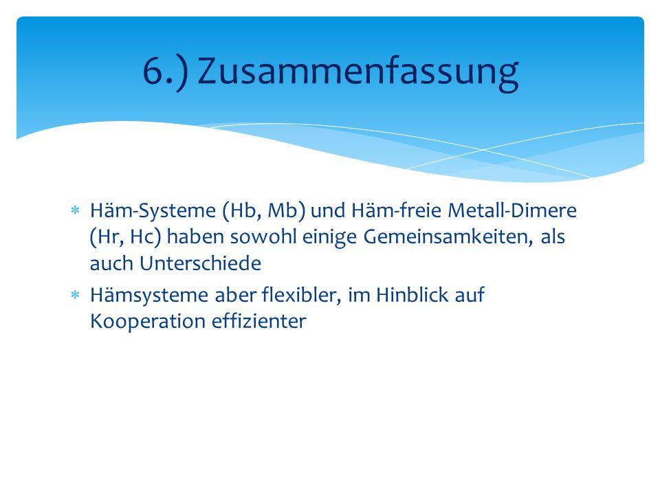 6.) Zusammenfassung Häm-Systeme (Hb, Mb) und Häm-freie Metall-Dimere (Hr, Hc) haben sowohl einige Gemeinsamkeiten, als auch Unterschiede.