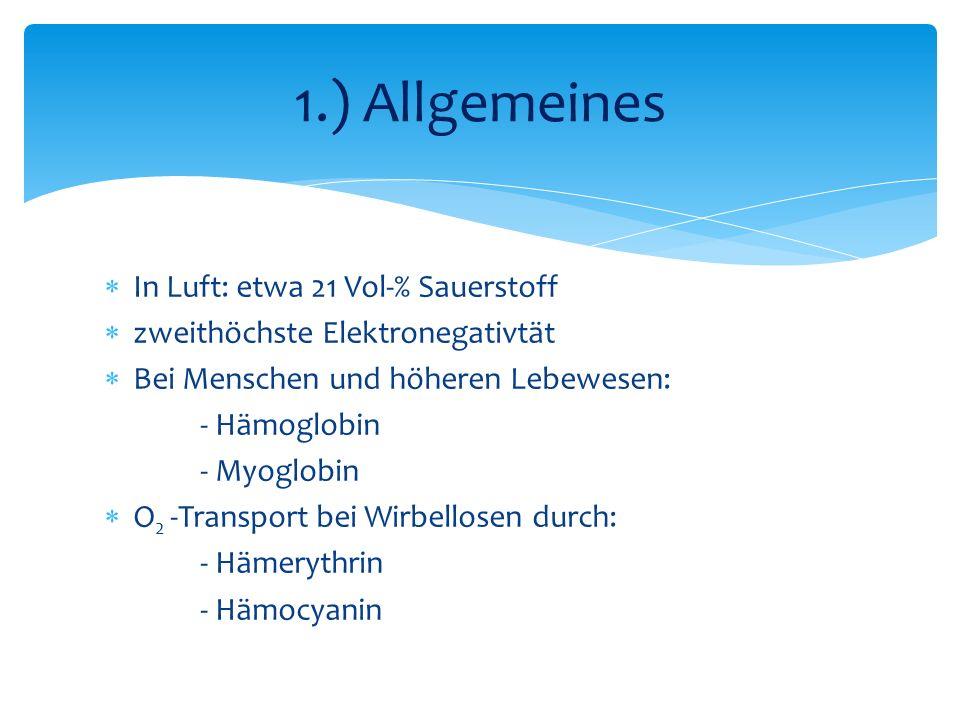 1.) Allgemeines In Luft: etwa 21 Vol-% Sauerstoff