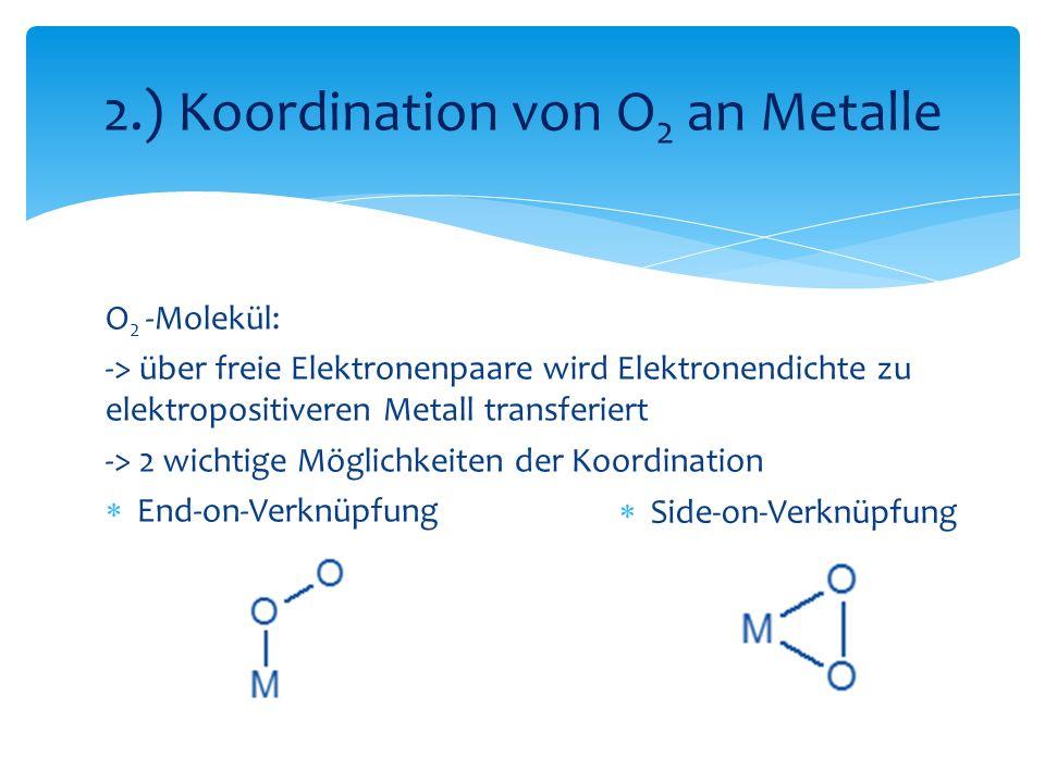 2.) Koordination von O2 an Metalle
