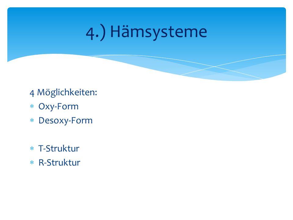 4.) Hämsysteme 4 Möglichkeiten: Oxy-Form Desoxy-Form T-Struktur