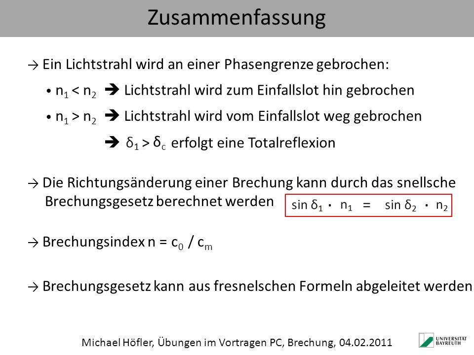 Michael Höfler, Übungen im Vortragen PC, Brechung, 04.02.2011