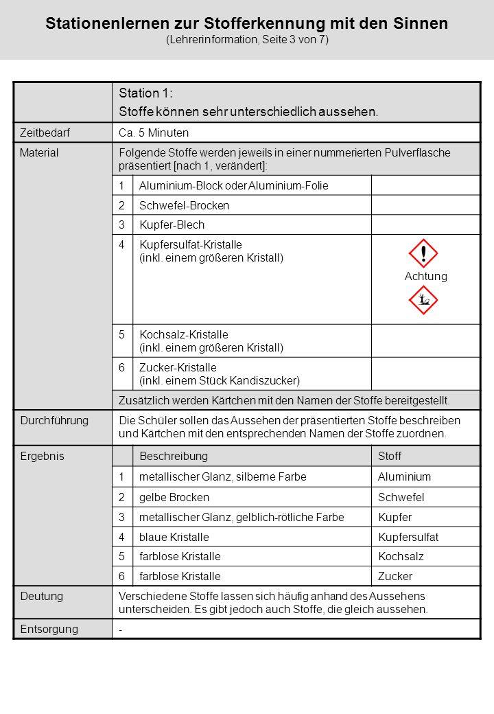 Stationenlernen zur Stofferkennung mit den Sinnen (Lehrerinformation, Seite 3 von 7)