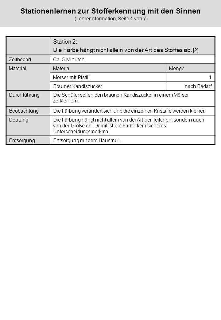 Stationenlernen zur Stofferkennung mit den Sinnen (Lehrerinformation, Seite 4 von 7)