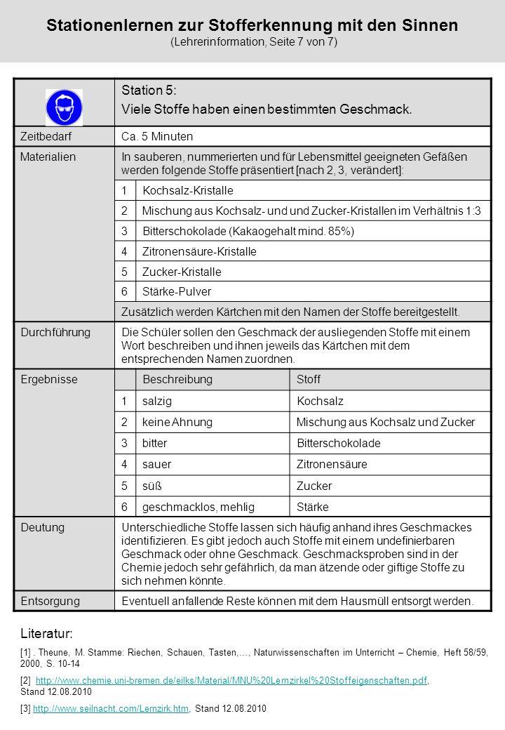 Stationenlernen zur Stofferkennung mit den Sinnen (Lehrerinformation, Seite 7 von 7)