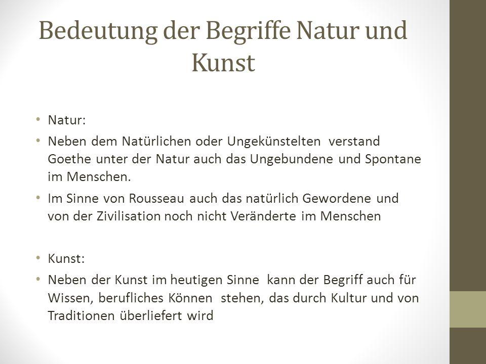 Bedeutung der Begriffe Natur und Kunst
