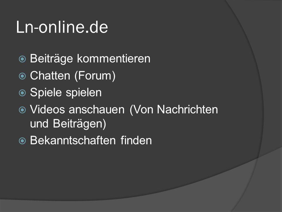 Ln-online.de Beiträge kommentieren Chatten (Forum) Spiele spielen