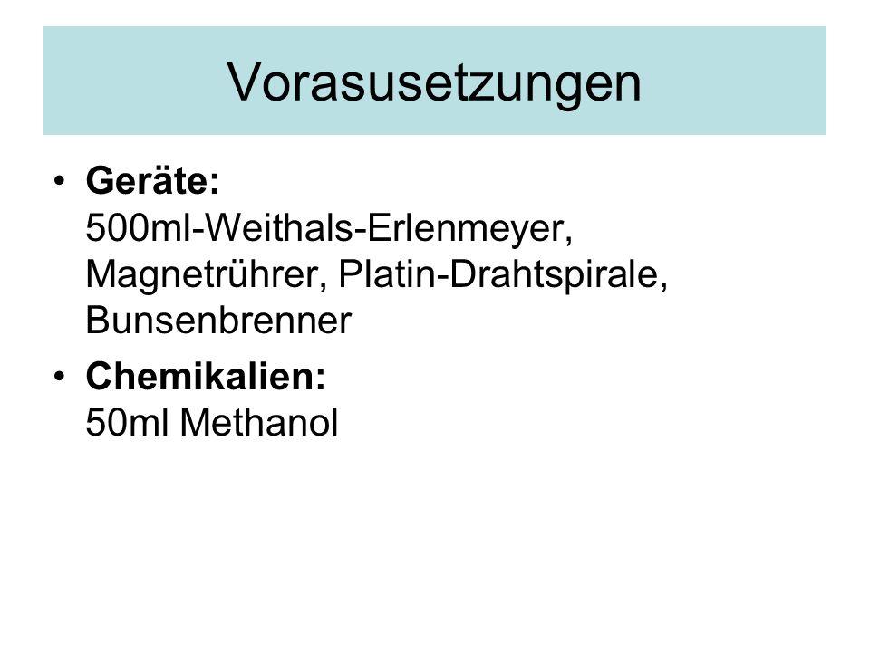 Vorasusetzungen Geräte: 500ml-Weithals-Erlenmeyer, Magnetrührer, Platin-Drahtspirale, Bunsenbrenner.