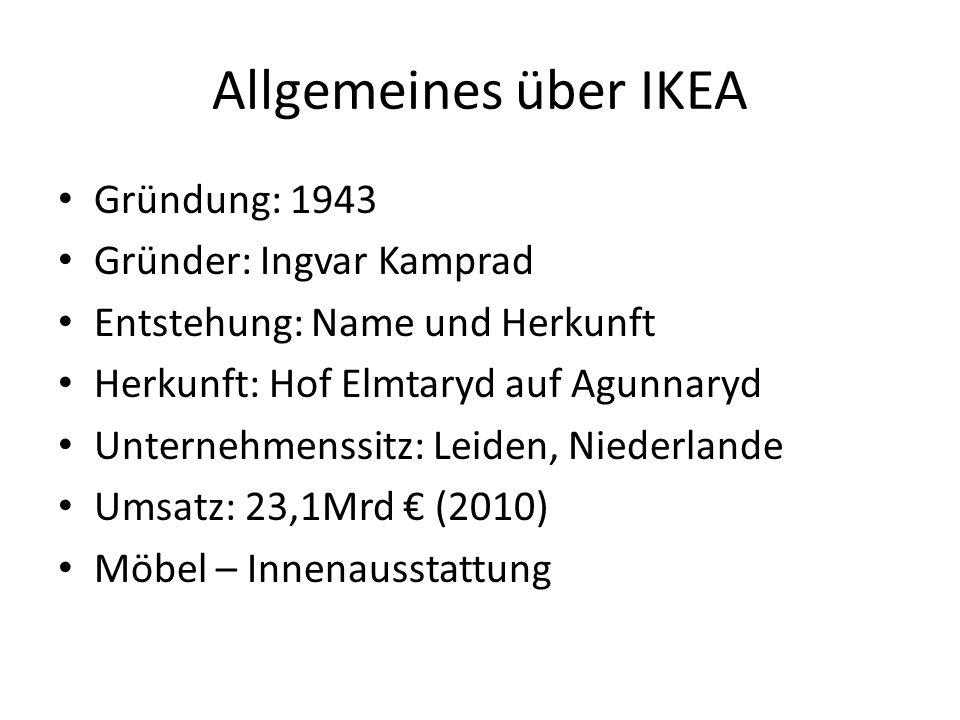 Allgemeines über IKEA Gründung: 1943 Gründer: Ingvar Kamprad