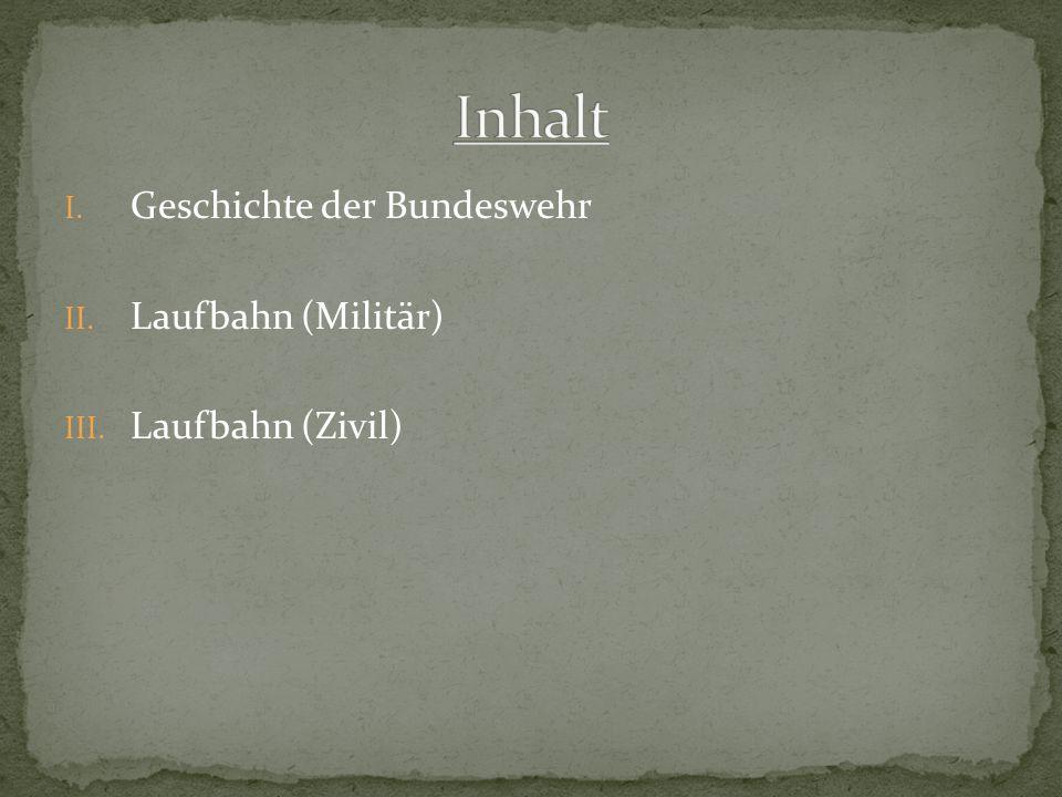 Inhalt Geschichte der Bundeswehr Laufbahn (Militär) Laufbahn (Zivil)