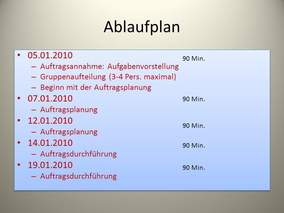 Ablaufplan05.01.2010. Auftragsannahme: Aufgabenvorstellung. Gruppenaufteilung (3-4 Pers. maximal) Beginn mit der Auftragsplanung.