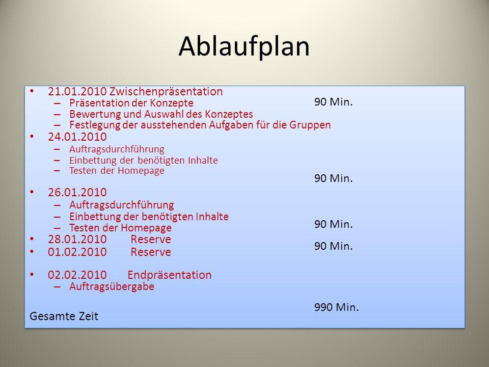 Ablaufplan 21.01.2010 Zwischenpräsentation 24.01.2010 26.01.2010