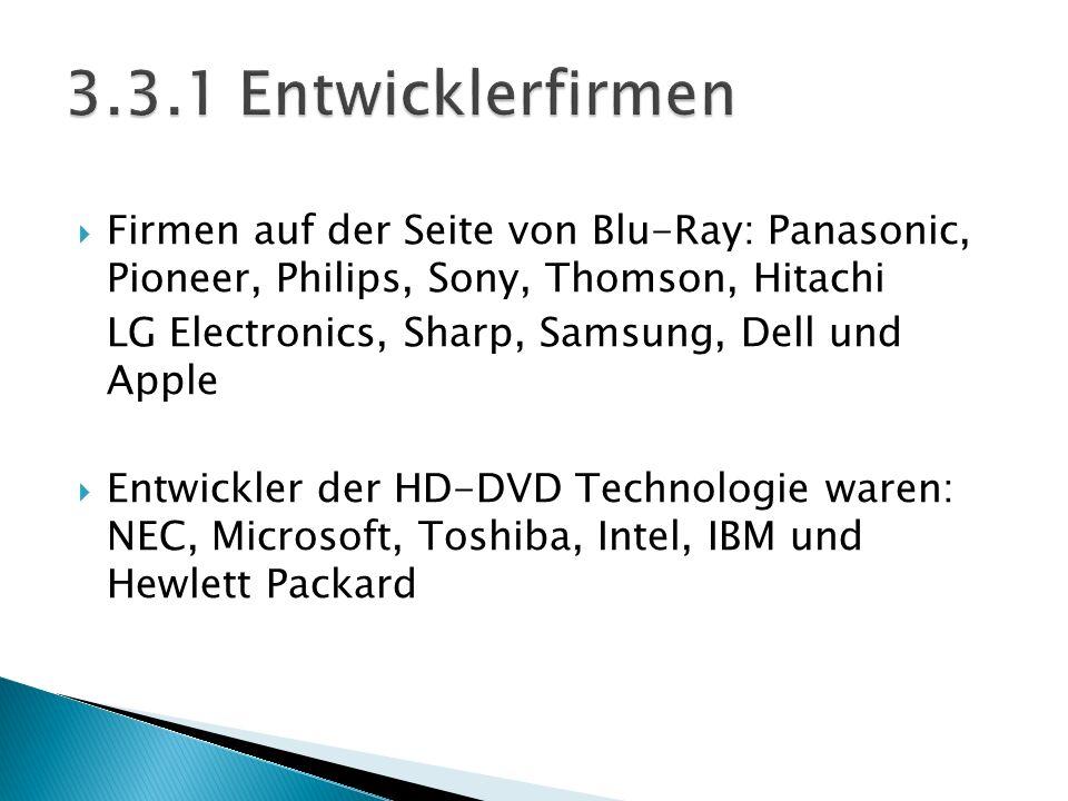 3.3.1 Entwicklerfirmen Firmen auf der Seite von Blu-Ray: Panasonic, Pioneer, Philips, Sony, Thomson, Hitachi.