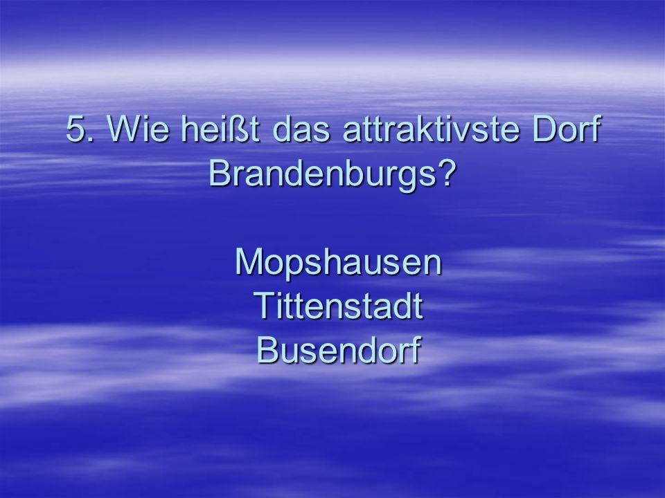 5. Wie heißt das attraktivste Dorf Brandenburgs