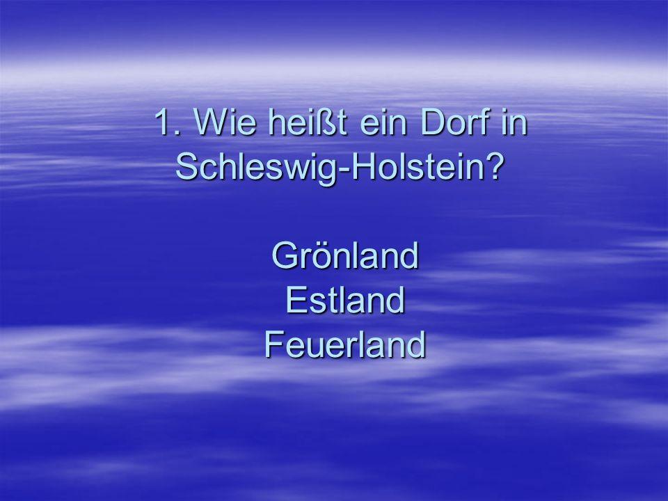 1. Wie heißt ein Dorf in Schleswig-Holstein Grönland Estland Feuerland