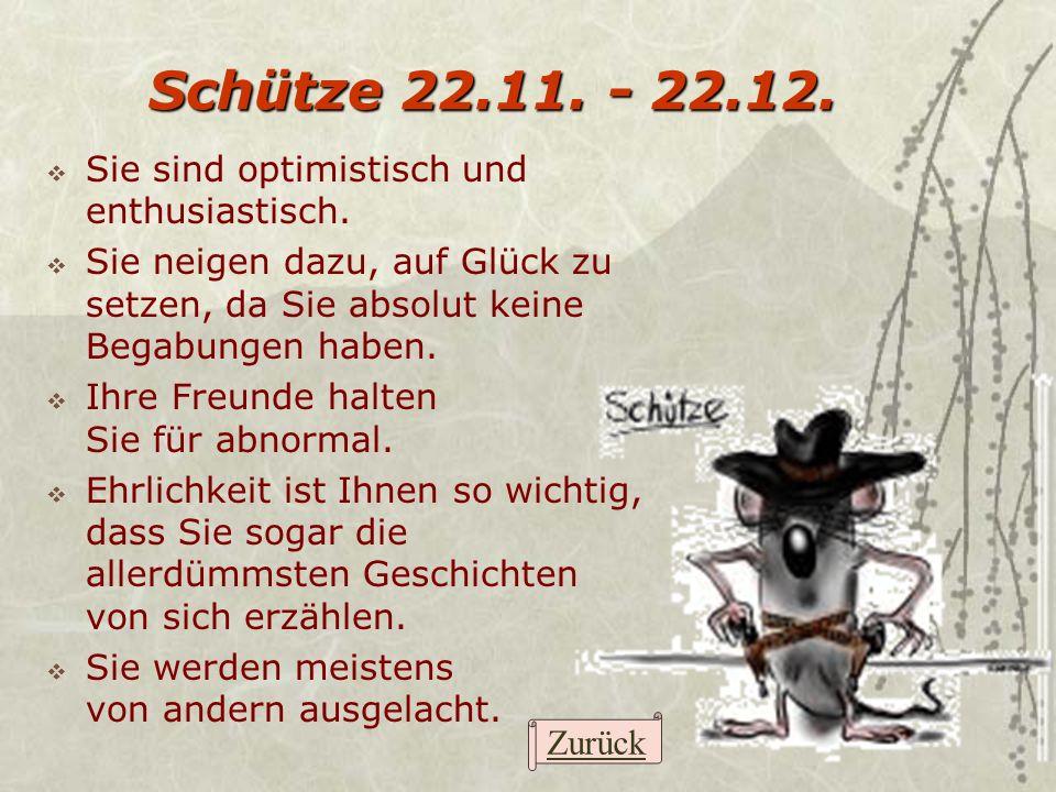 Schütze 22.11. - 22.12. Sie sind optimistisch und enthusiastisch.
