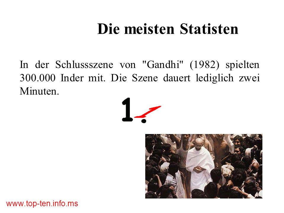 Die meisten StatistenIn der Schlussszene von Gandhi (1982) spielten 300.000 Inder mit.
