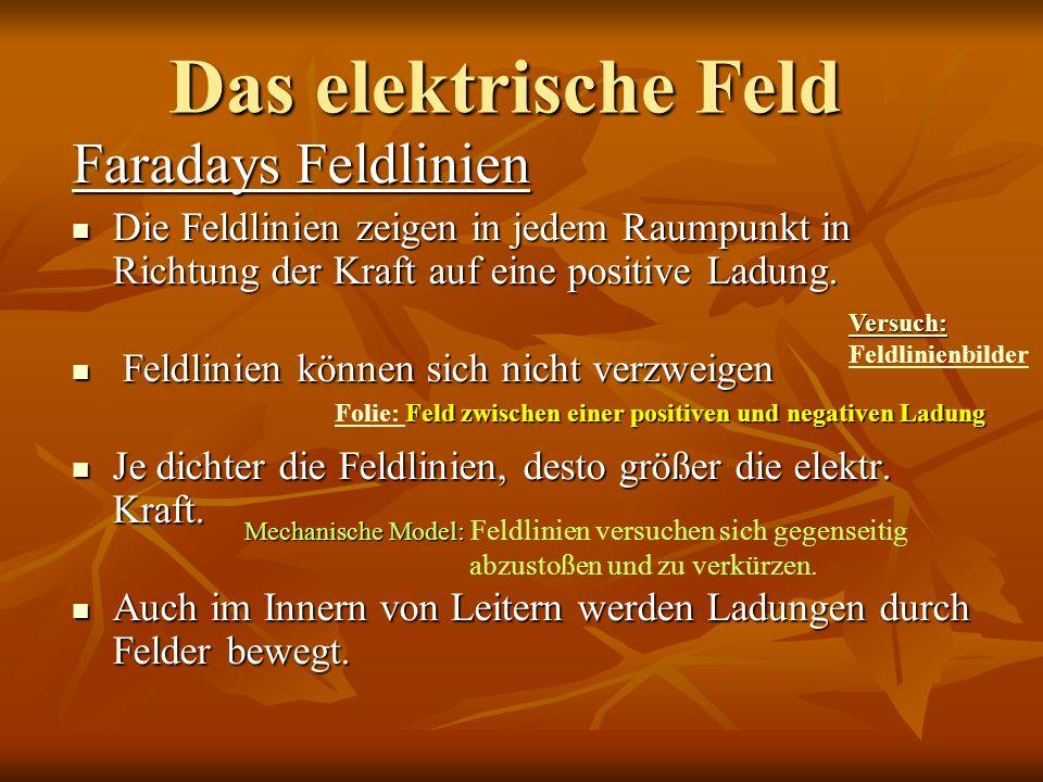 Das elektrische Feld Faradays Feldlinien