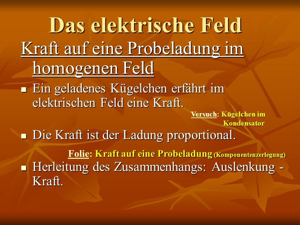 Das elektrische Feld Kraft auf eine Probeladung im homogenen Feld